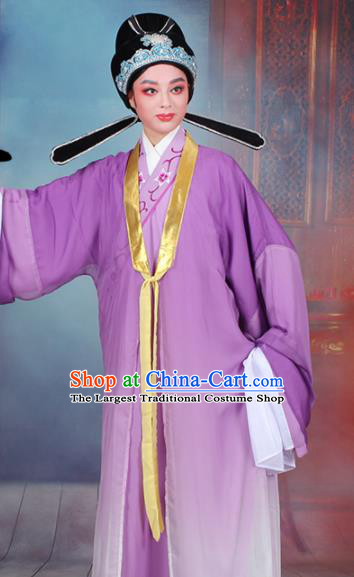 Chinese Traditional Peking Opera Scholar Purple Robe Beijing Opera Niche Costume for Men