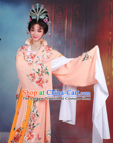 Chinese Traditional Shaoxing Opera Queen Embroidered Orange Dress Beijing Opera Hua Dan Costume for Women