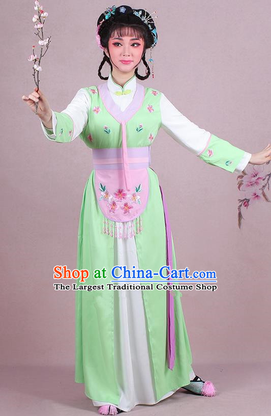 Chinese Traditional Shaoxing Opera Maidservants Embroidered Green Dress Beijing Opera Young Lady Costume for Women