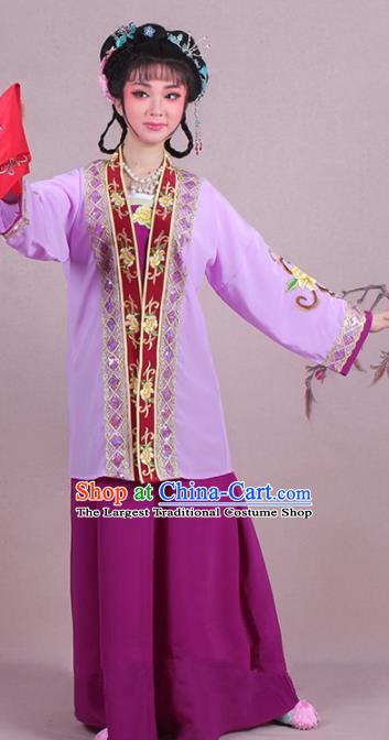 Chinese Traditional Shaoxing Opera Dowager Embroidered Purple Dress Beijing Opera Maidservants Costume for Women