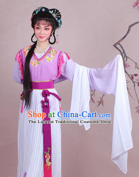 Chinese Traditional Shaoxing Opera Servant Girl Embroidered Purple Dress Beijing Opera Maidservants Costume for Women