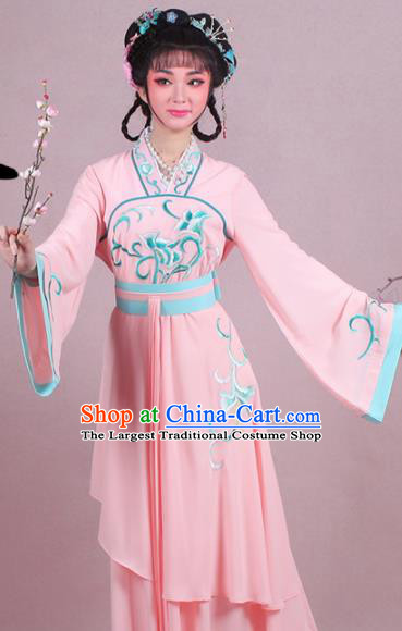 Chinese Traditional Shaoxing Opera Village Girl Embroidered Pink Dress Beijing Opera Maidservants Costume for Women