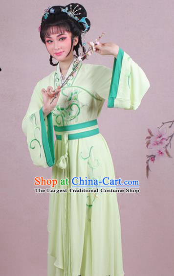 Chinese Traditional Shaoxing Opera Village Girl Embroidered Green Dress Beijing Opera Maidservants Costume for Women