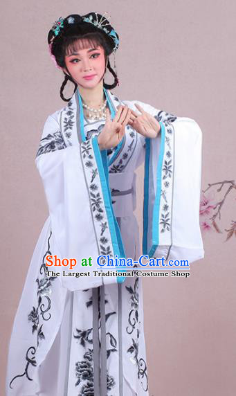 Chinese Traditional Shaoxing Opera Palace Lady Embroidered White Dress Beijing Opera Princess Costume for Women