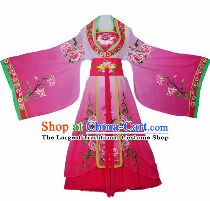 Chinese Traditional Shaoxing Opera Palace Lady Embroidered Rosy Dress Beijing Opera Princess Costume for Women