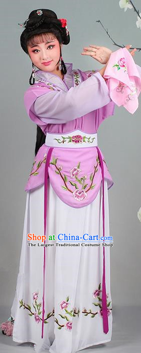 Chinese Traditional Shaoxing Opera Hua Dan Embroidered Purple Dress Beijing Opera Village Girl Costume for Women