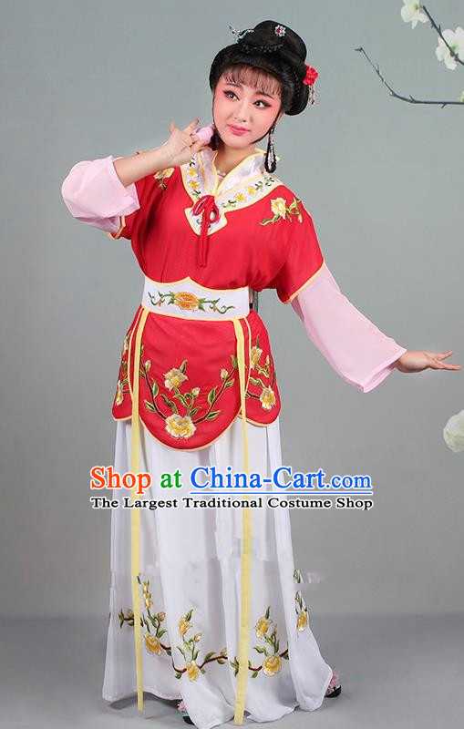 Chinese Traditional Shaoxing Opera Hua Dan Embroidered Red Dress Beijing Opera Village Girl Costume for Women