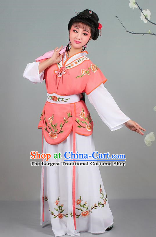 Chinese Traditional Shaoxing Opera Hua Dan Embroidered Orange Dress Beijing Opera Village Girl Costume for Women