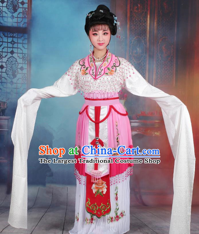 Chinese Traditional Shaoxing Opera Hua Dan Princess Embroidered Pink Dress Beijing Opera Peri Costume for Women