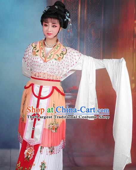 Chinese Traditional Shaoxing Opera Hua Dan Princess Embroidered Orange Dress Beijing Opera Peri Costume for Women