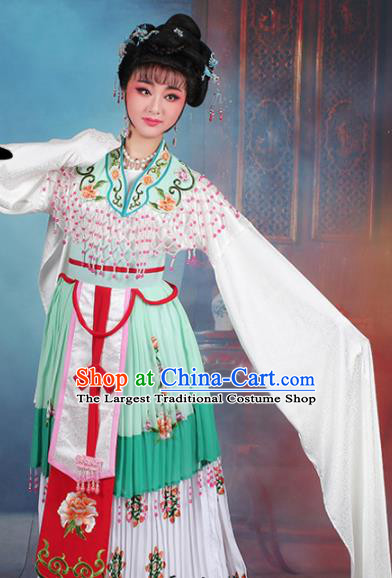Chinese Traditional Shaoxing Opera Hua Dan Princess Embroidered Green Dress Beijing Opera Peri Costume for Women