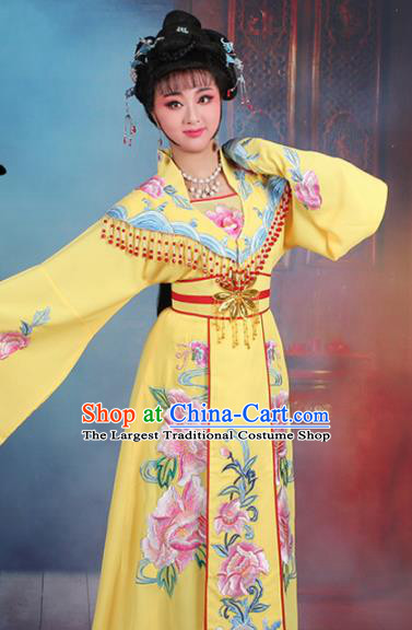 Chinese Traditional Shaoxing Opera Hua Dan Embroidered Yellow Dress Beijing Opera Palace Queen Costume for Women