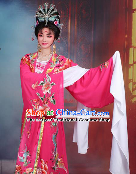 Chinese Traditional Shaoxing Opera Princess Peri Embroidered Rosy Dress Beijing Opera Hua Dan Costume for Women
