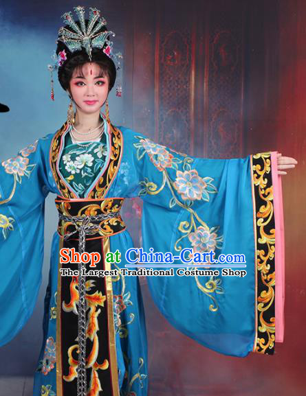 Chinese Traditional Shaoxing Opera Empress Embroidered Royalblue Dress Beijing Opera Hua Dan Costume for Women