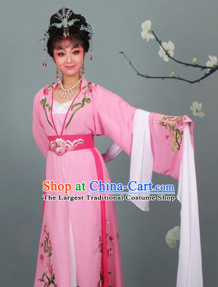 Chinese Traditional Huangmei Opera Princess Embroidered Pink Dress Beijing Opera Hua Dan Costume for Women