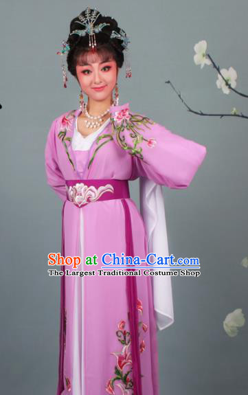 Chinese Traditional Huangmei Opera Princess Embroidered Purple Dress Beijing Opera Hua Dan Costume for Women