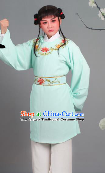 Chinese Traditional Peking Opera Livehand Blue Clothing Beijing Opera Servant Costume for Men