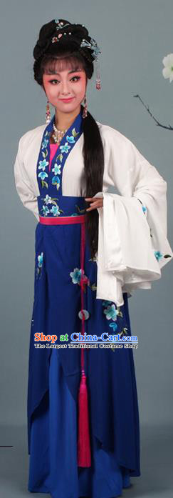 Chinese Traditional Huangmei Opera Rich Lady Embroidered Navy Dress Beijing Opera Hua Dan Costume for Women