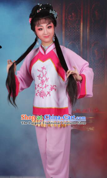 Chinese Traditional Huangmei Opera Poor Lady Pink Dress Beijing Opera Maidservants Costume for Women