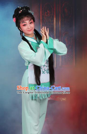 Chinese Traditional Huangmei Opera Poor Lady Green Dress Beijing Opera Maidservants Costume for Women