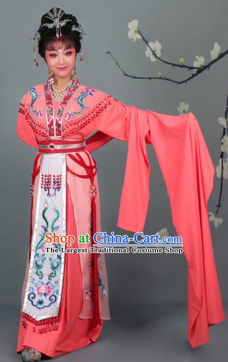 Chinese Traditional Huangmei Opera Imperial Consort Embroidered Rosy Dress Beijing Opera Court Lady Costume for Women