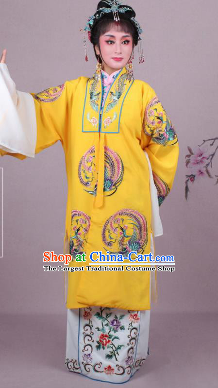 Chinese Traditional Huangmei Opera Imperial Empress Embroidered Yellow Dress Beijing Opera Court Queen Costume for Women