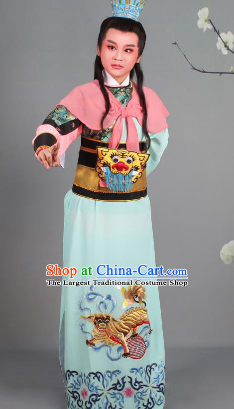 Chinese Traditional Peking Opera General Green Clothing Beijing Opera Takefu Costume for Men
