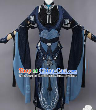 Chinese Traditional Cosplay Female Knight Black Hanfu Dress Ancient Swordswoman Costume for Women