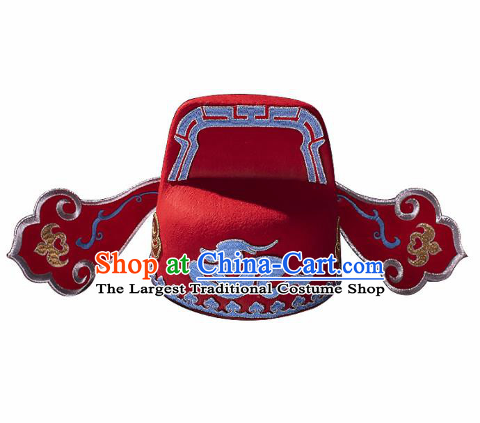 Chinese Traditional Beijing Opera Gifted Scholar Headwear Ancient Cosplay Nobility Childe Red Hat for Men