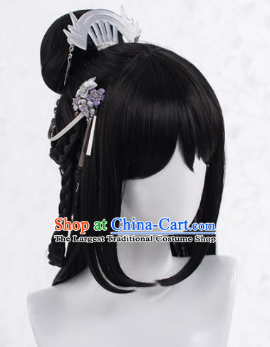 Chinese Traditional Cosplay Female Knight Wigs Ancient Peri Wig Sheath and Hairpins Hair Accessories for Women
