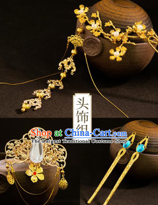 Chinese Traditional Cosplay Female Knight Hairpins Ancient Peri Hair Accessories for Women