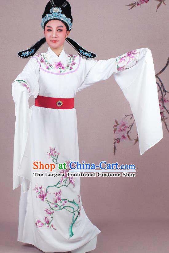 Chinese Traditional Peking Opera Nobility Childe White Robe Beijing Opera Niche Embroidered Mangnolia Costume for Men