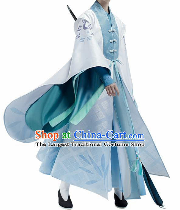 Chinese Traditional Ancient Swordsman Costume Cosplay Taoist Priest Clothing for Men