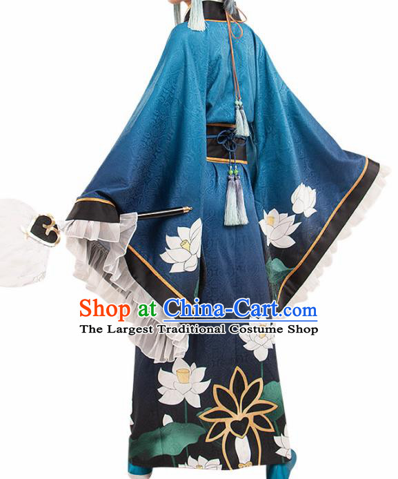 Chinese Traditional Ancient Swordsman Blue Costume Cosplay Japanese Warrior Clothing for Men