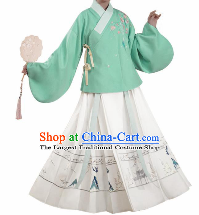 Chinese Traditional Ming Dynasty Green Blouse and White Skirt Ancient Nobility Lady Costume for Women