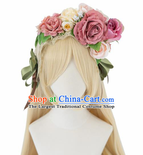Japanese Traditional Cosplay Princess Wigs Ancient Kimono Wig Sheath and Pink Peony Hairpins Hair Accessories for Women