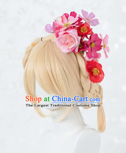 Japanese Traditional Cosplay Princess Wigs Ancient Kimono Wig Sheath and Pink Rose Hairpins Hair Accessories for Women