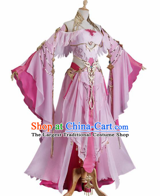 Chinese Traditional Cosplay Heroine Pink Hanfu Dress Ancient Swordswoman Costume for Women