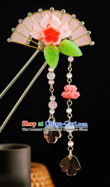 Chinese Traditional Hair Accessories Ancient Princess Pink Shell Lotus Hairpins for Women