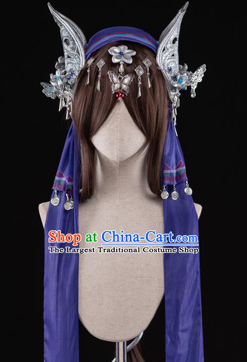 Chinese Traditional Cosplay Peri Heroine Wigs Ancient Swordswoman Wig Sheath and Hairpins Hair Accessories for Women