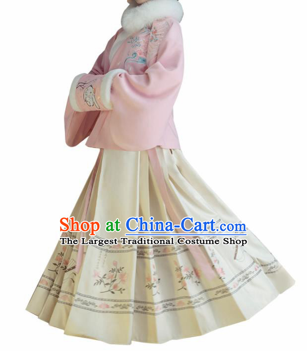 Chinese Traditional Ming Dynasty Pink Blouse and Beige Skirt Ancient Nobility Lady Costume for Women