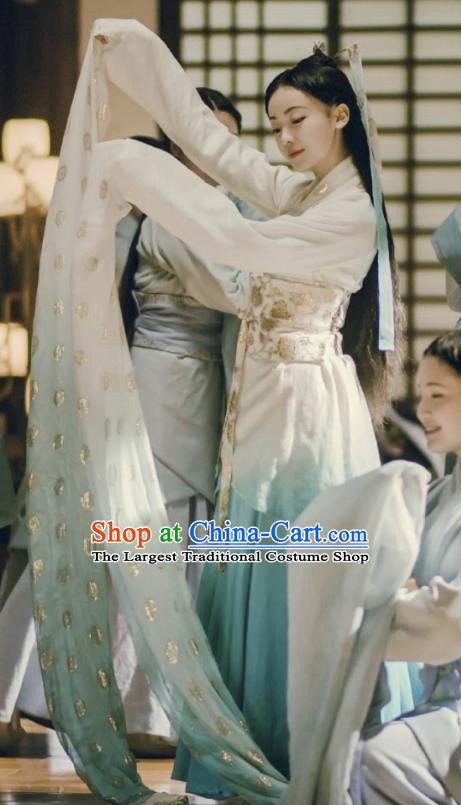 The Lengend of Haolan Ancient Chinese Warring States Period Nobility Lady Historical Costume and Headpiece for Women