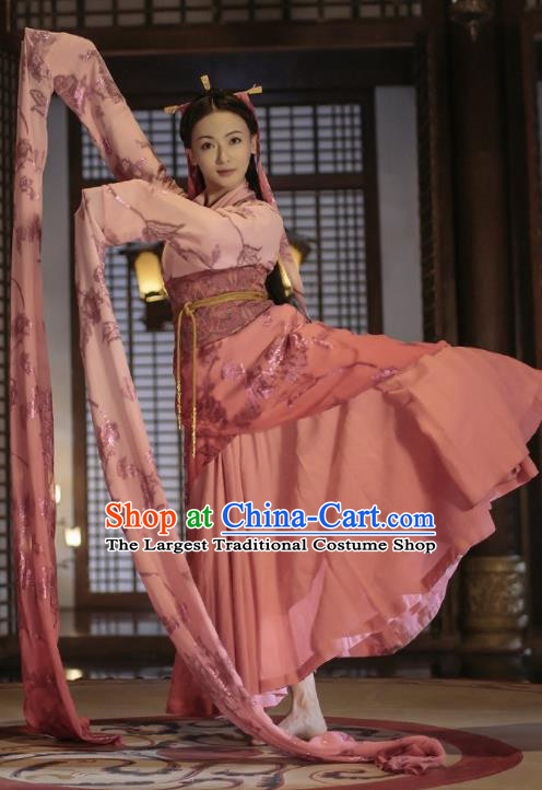 Chinese Ancient Dancer Hanfu Dress The Lengend of Haolan Warring States Period Palace Lady Historical Costume and Headpiece for Women