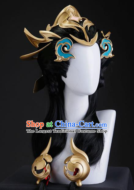 Chinese Traditional Cosplay Swordswoman Hair Accessories Ancient Imperial Consort Wigs and Hair Crown for Women