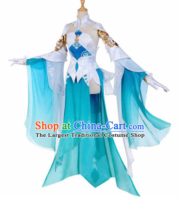 Traditional Halloween Cosplay Swordswoman Costume Chinese Ancient Heroine Peri Green Dress for Women