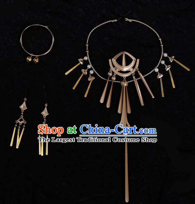 Chinese Traditional Jewelry Accessories Ancient Princess Necklace and Earrings for Women