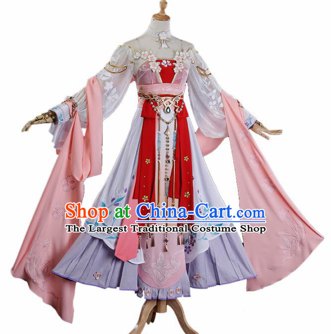 Traditional Halloween Cosplay Swordswoman Costume Chinese Ancient Princess Peri Hanfu Dress for Women