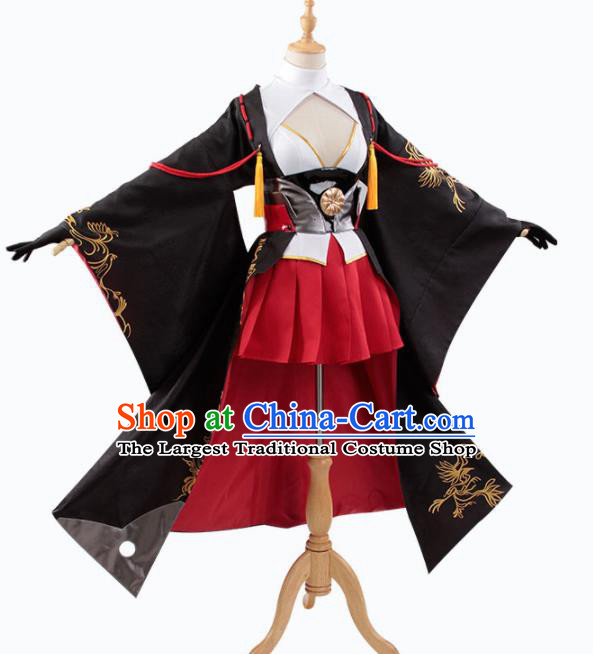 Traditional Halloween Cosplay Swordswoman Costume Chinese Ancient Heroine Black Hanfu Dress for Women
