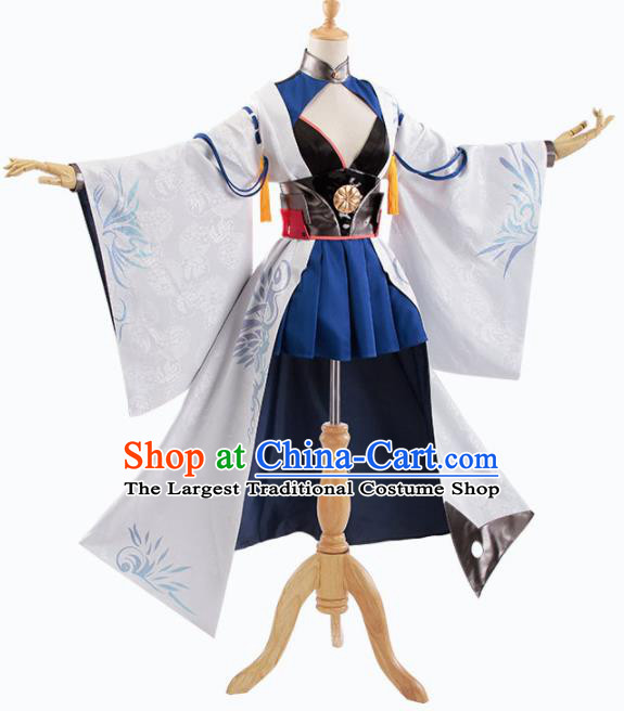 Traditional Halloween Cosplay Swordswoman Costume Chinese Ancient Heroine White Hanfu Dress for Women