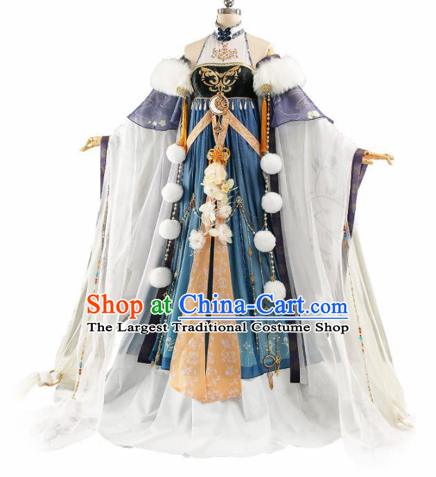 Chinese Traditional Cosplay Princess Peri Costume Ancient Swordswoman Hanfu Dress for Women